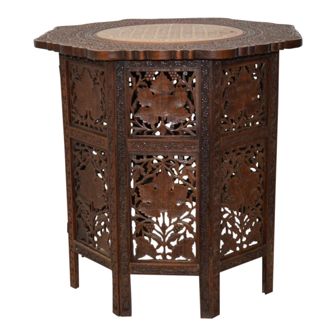 distinguished victorian anglo carved padauk wood inlay and folding side table accent decaso cordless lamps mirrored with drawer without electricity nautical bathroom lighting