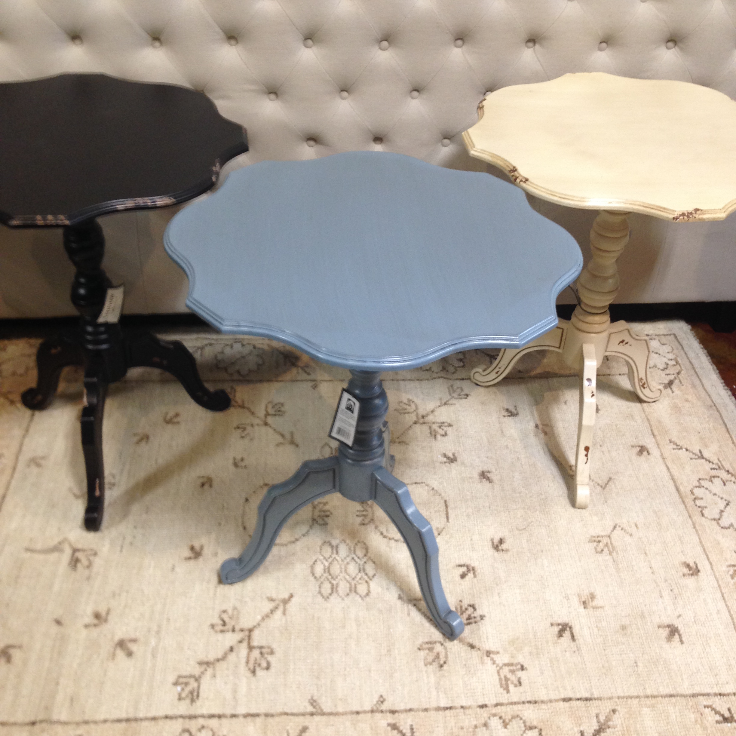 distressed accent table rug gallery gerami blue black white and end tables eugene walnut console with shelves mirrored furniture toronto battery powered lights antique claw foot