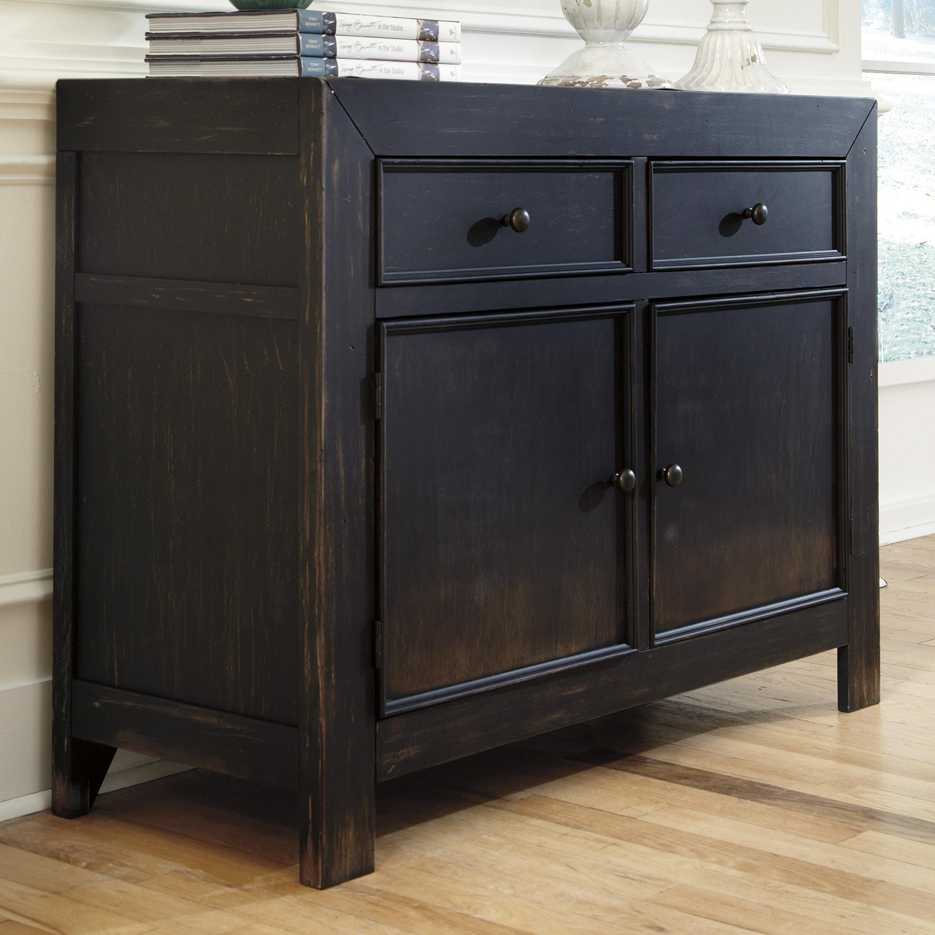 distressed black accent cabinet signature design ashley wolf products color gavelston table patio set covers velvet chair rose gold desk lamp espresso white cube coffee end tables