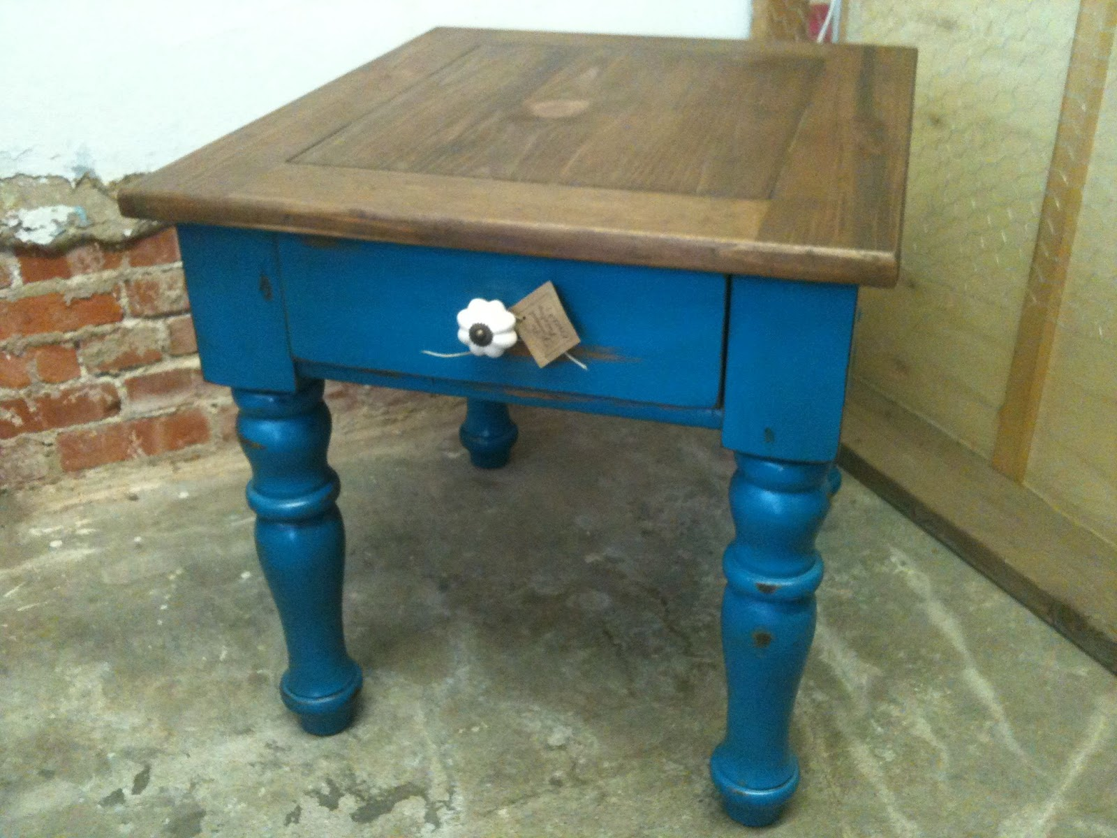 distressed blue side table modern coffee tables and accent img the painted paisley with stained top nautical pendant wood end plans mirrored dresser target grey white pottery barn