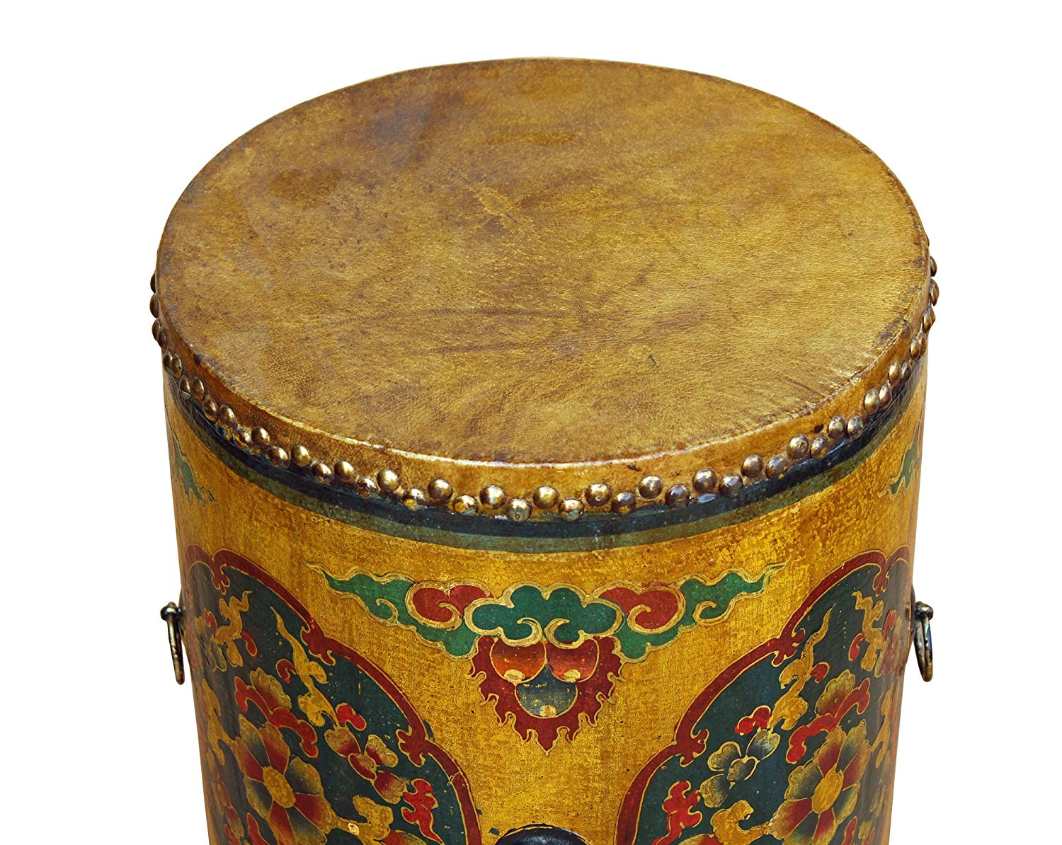 distressed oriental chinese tibetan drum shape yellow accent table floral coffee side kitchen dining centerpieces for home granite teak glass top threshold gold office small chest