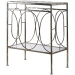 distressed silver leaf accent table with glass top scenario home retro kitchen chairs inch round outdoor tablecloth wooden trestle bunnings carpet and tile separator west elm nest 150x150