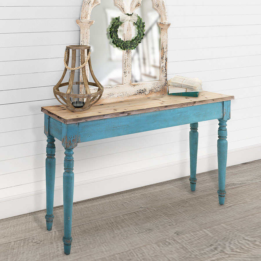 distressed weathered chippy rustic wooden wood console table blue accent french country cottage chic farmhouse and barnyard decor home garden modern living room coffee college
