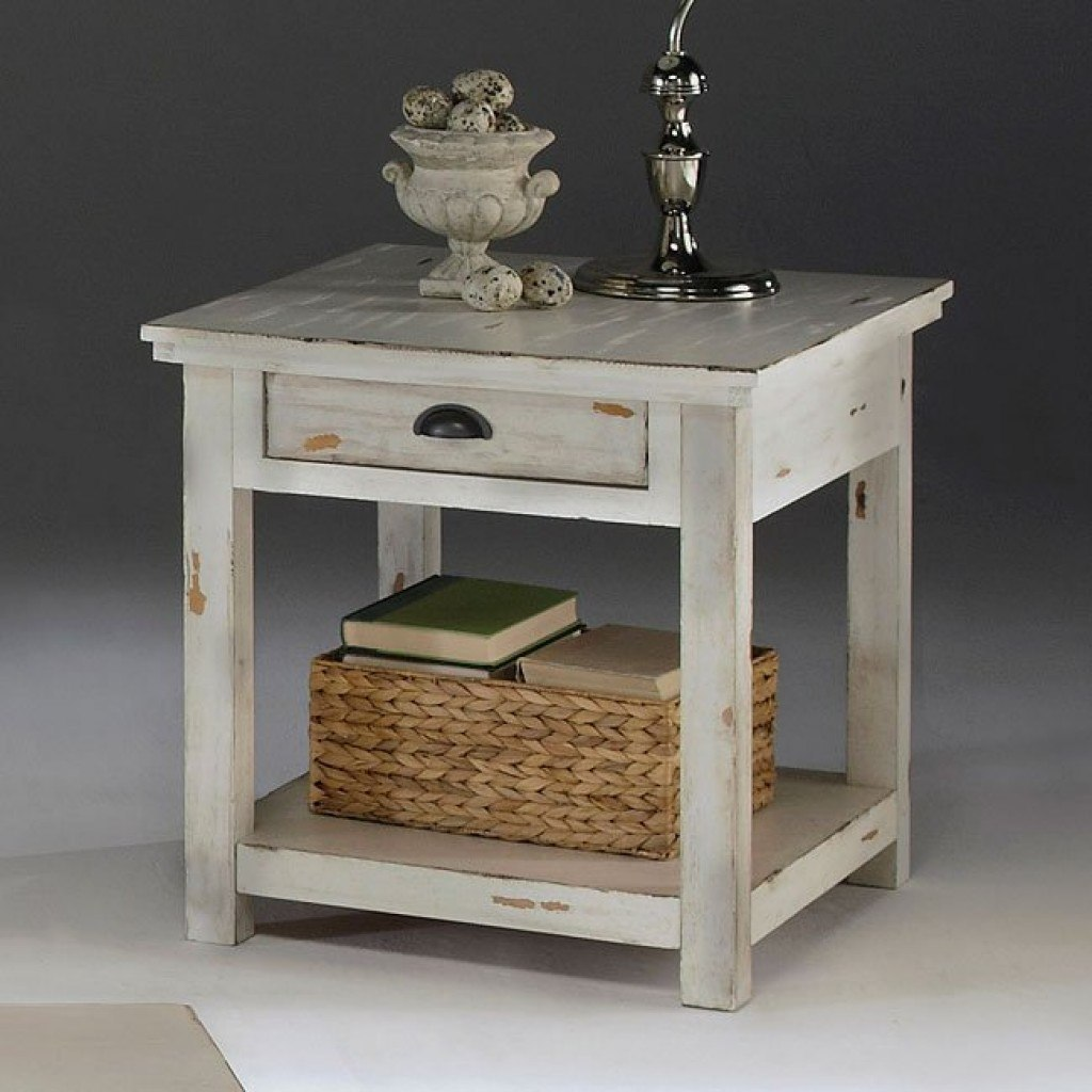 distressed white accent tables end table lack bedroom set modern rustic furniture dining room edmonton cherry finish side umbrella stand elegant industrial style coffee farm with