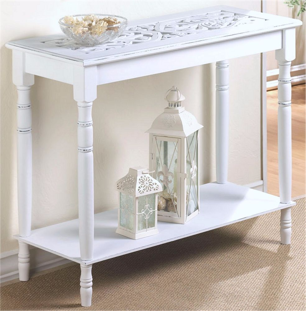 distressed white wood carved top console hall accent table shelf nib unbranded modern teton village cement outdoor dining dark bedroom furniture plant stand umbrella side home