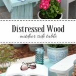 distressed wood outdoor side table real diy accent could you use handy little bench come check out the one built using salvaged and pretty aqua blue paint pottery barn decor 150x150