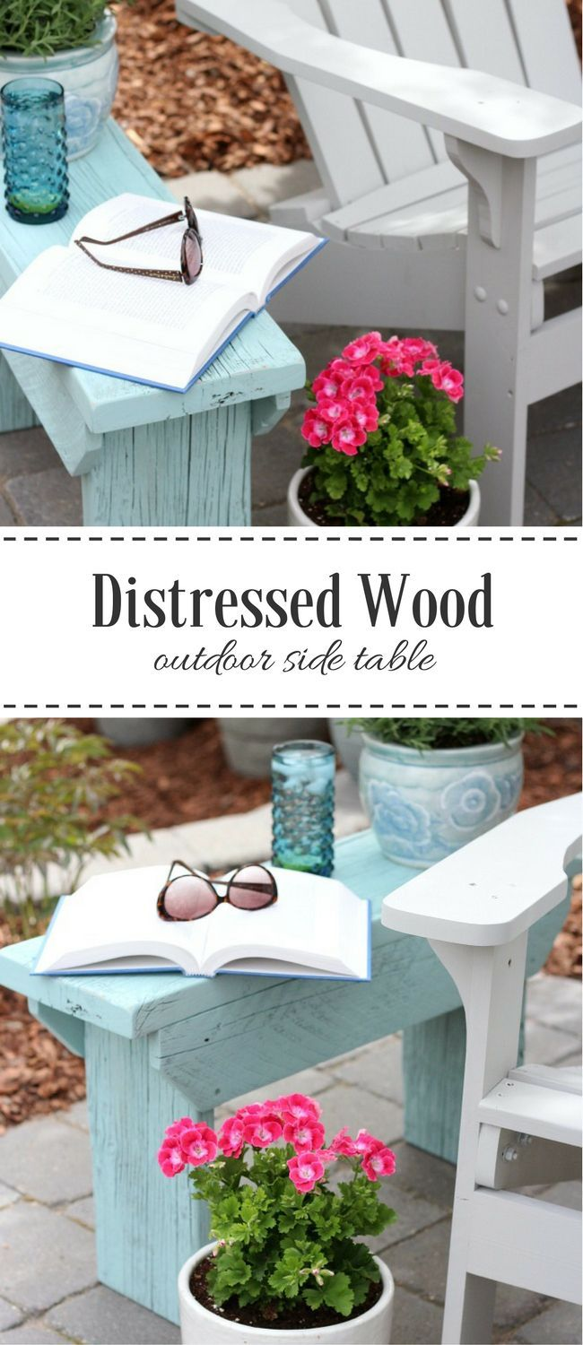 distressed wood outdoor side table real diy accent could you use handy little bench come check out the one built using salvaged and pretty aqua blue paint pottery barn decor