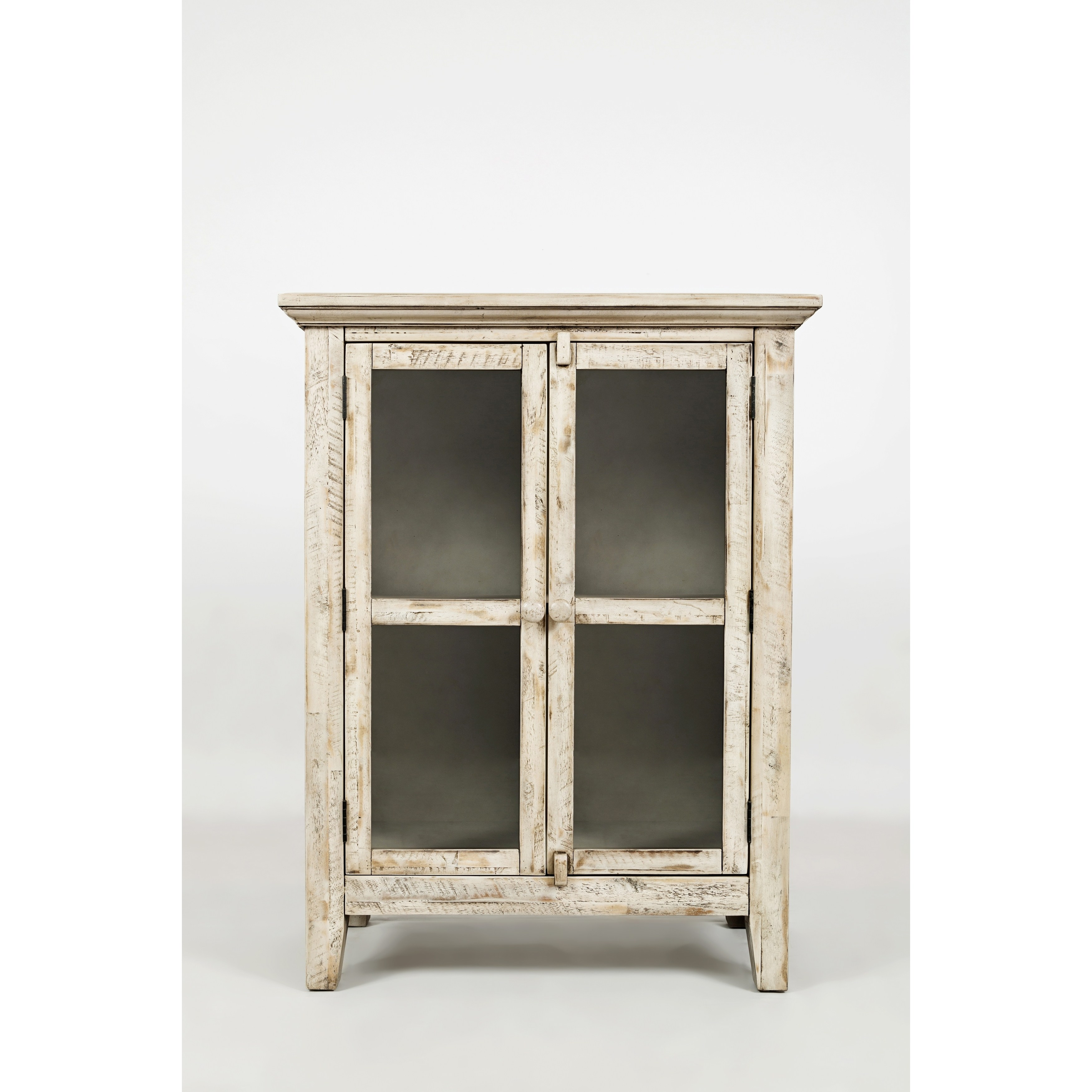 distressed wooden accent cabinet with glass doors off white table free shipping today end tables circular side wicker decorative cabinets for living room oak lamp patio furniture