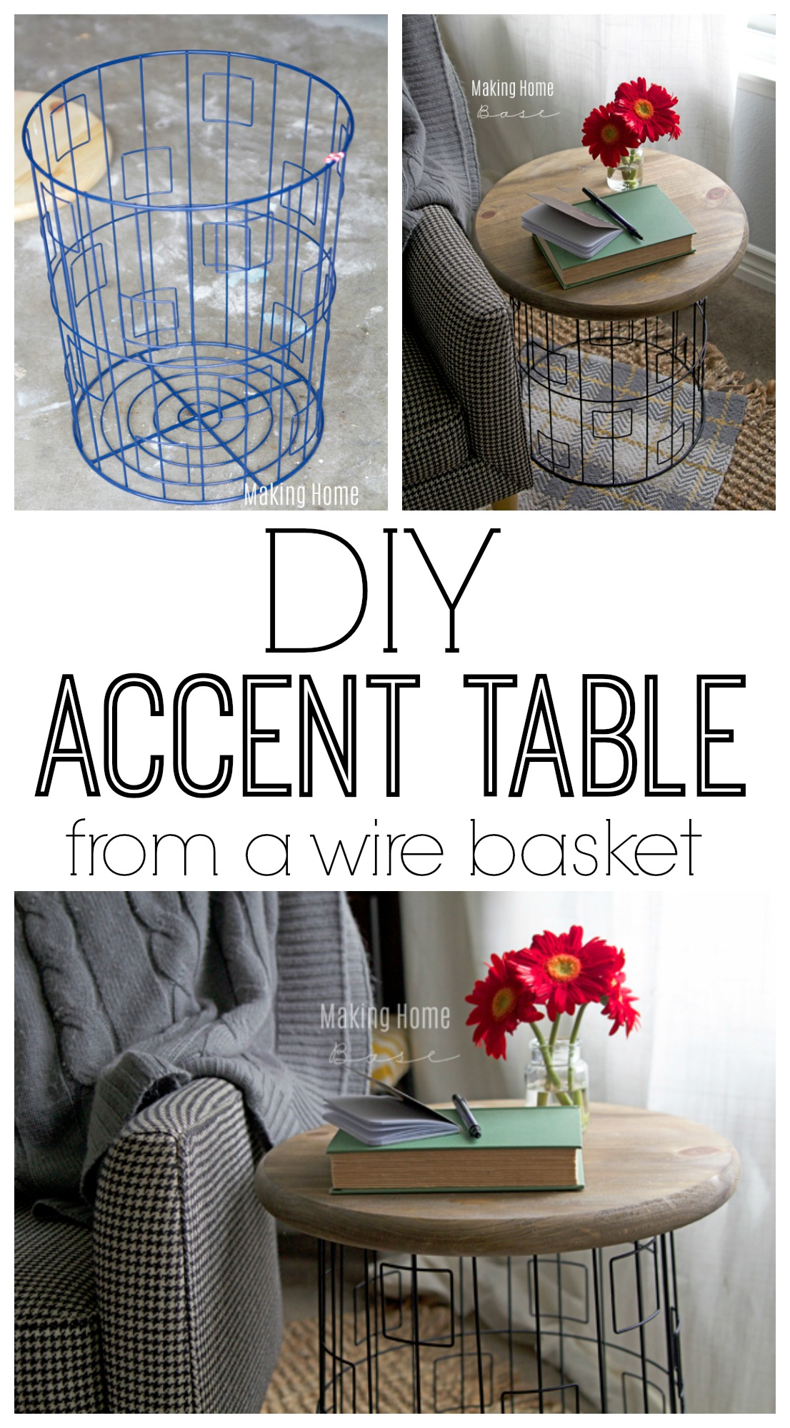 diy accent table from wire laundry basket base corner side ikea kenroy home large crystal lamp lawn chair with umbrella small glass top patio bunnings outdoor seating red barn