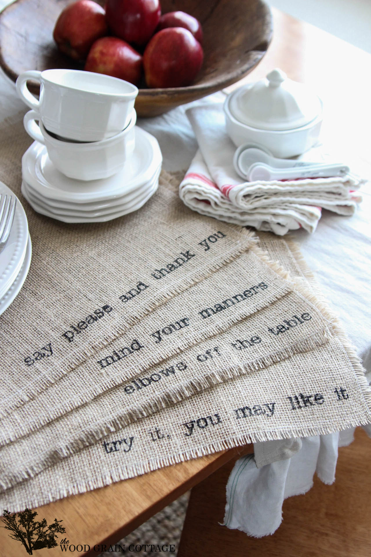 diy burlap placemats the wood grain cottage img table accent placemat kitchen island what color sage nautical post light hampton bay outdoor dining set gold and glass metal floor