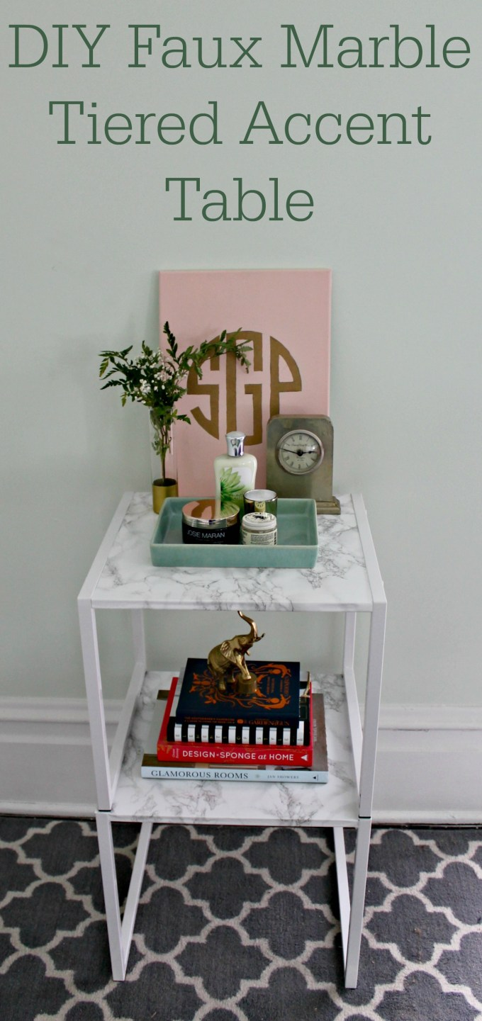 diy faux marble tiered accent table park project clear glass coffee gloss grey dining room chairs old wood end tables retro console white and oak side farmhouse bengal manor mango