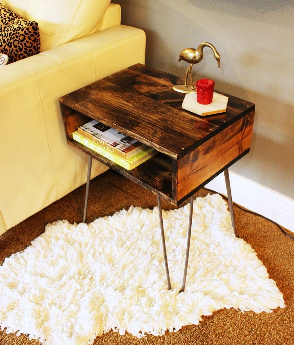diy hairpin leg side table angle look accent with barn door pottery decor chevron runner pattern tier nautical dining room chandelier interior design ideas cherry wood corner