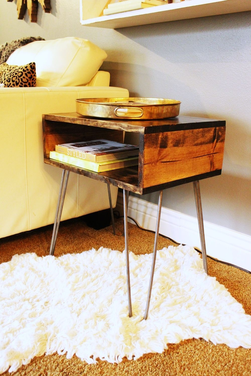 diy hairpin leg side table angle view wood slab accent low contemporary coffee tables small corner cabinet house hall decoration ideas garden half moon center design round metal