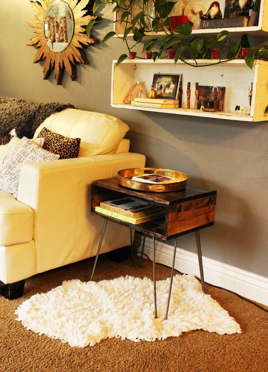 diy hairpin leg side table how create accent wood and glass coffee vintage nautical lights silver lamps cherry dining furniture metal garden small chest cabinet round ethan allen