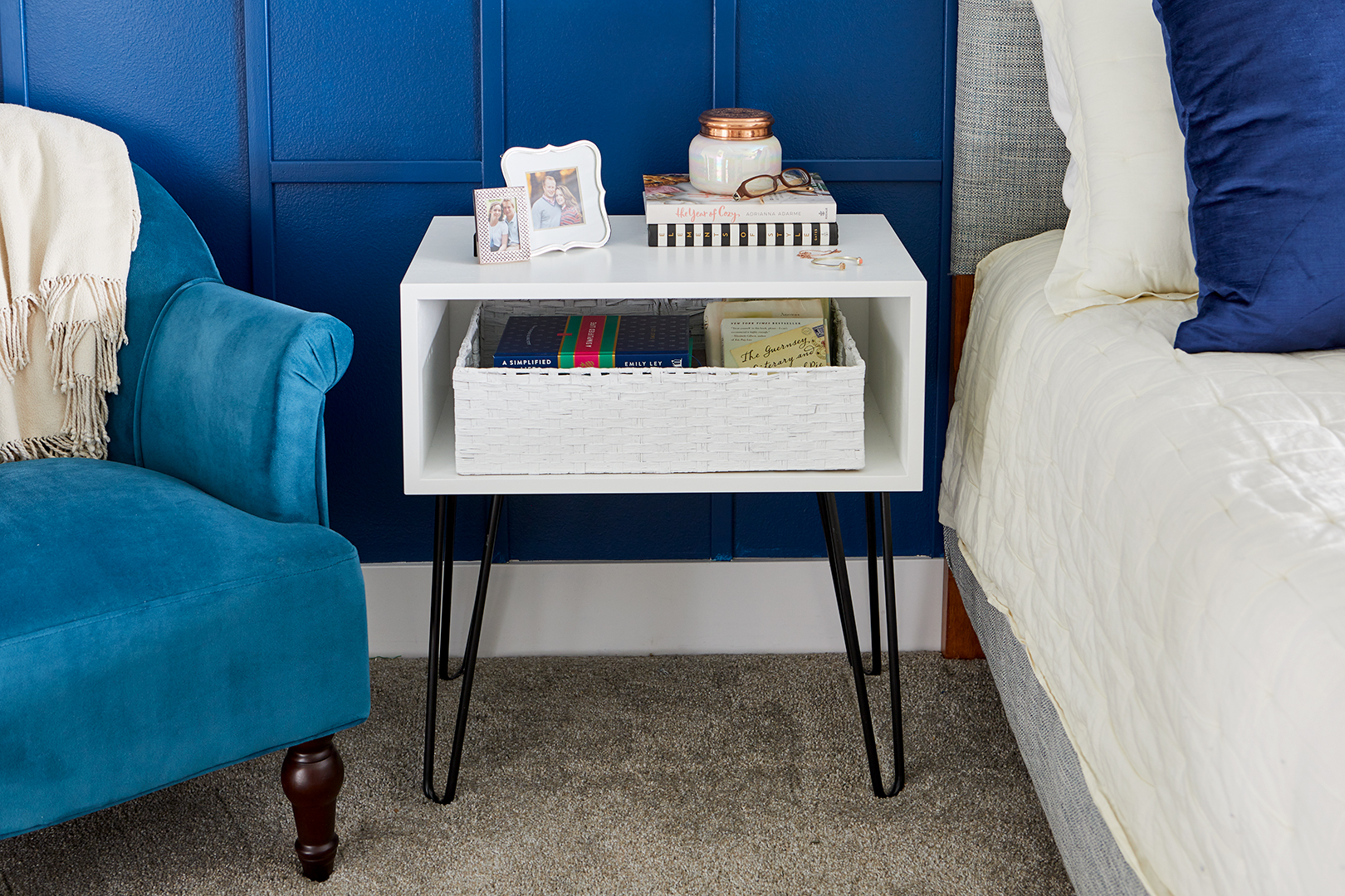 diy hairpin nightstand better homes gardens white box side table with black metal legs leg accent industrial look end tables vintage nautical lights pine trestle whole tablecloths