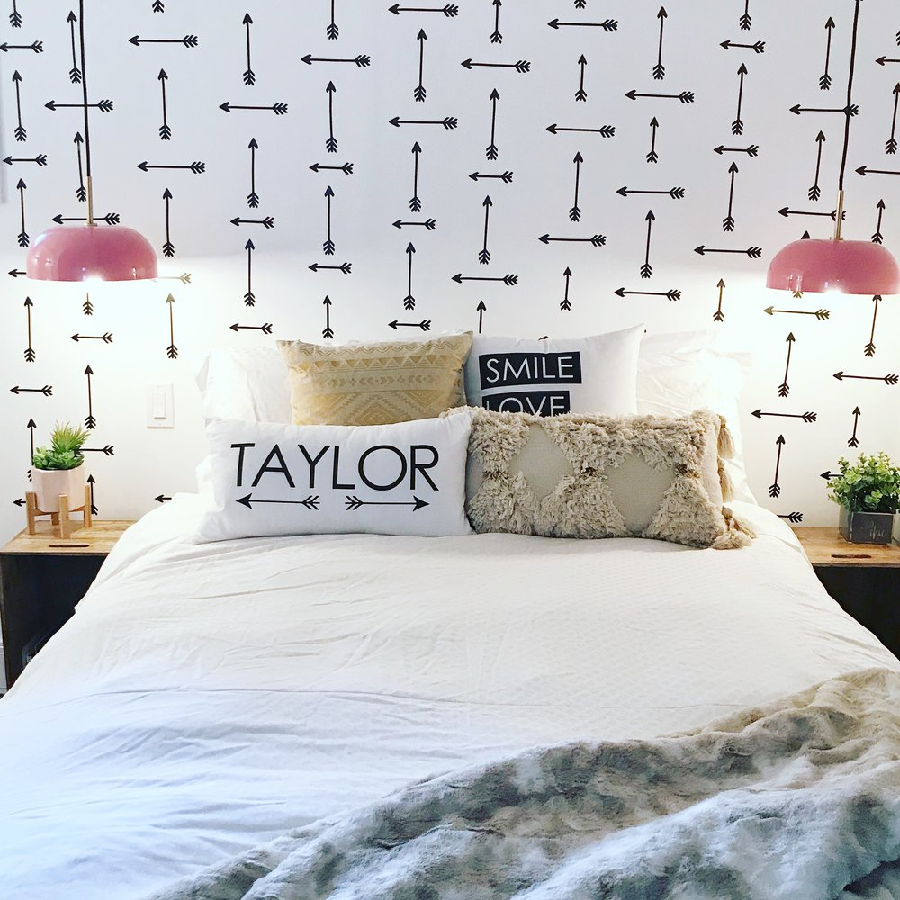 diy mom boho bedroom homesense accent tables sent request for pillows that would with the black and white arrow theme received these within days mail kitchen table plans hall