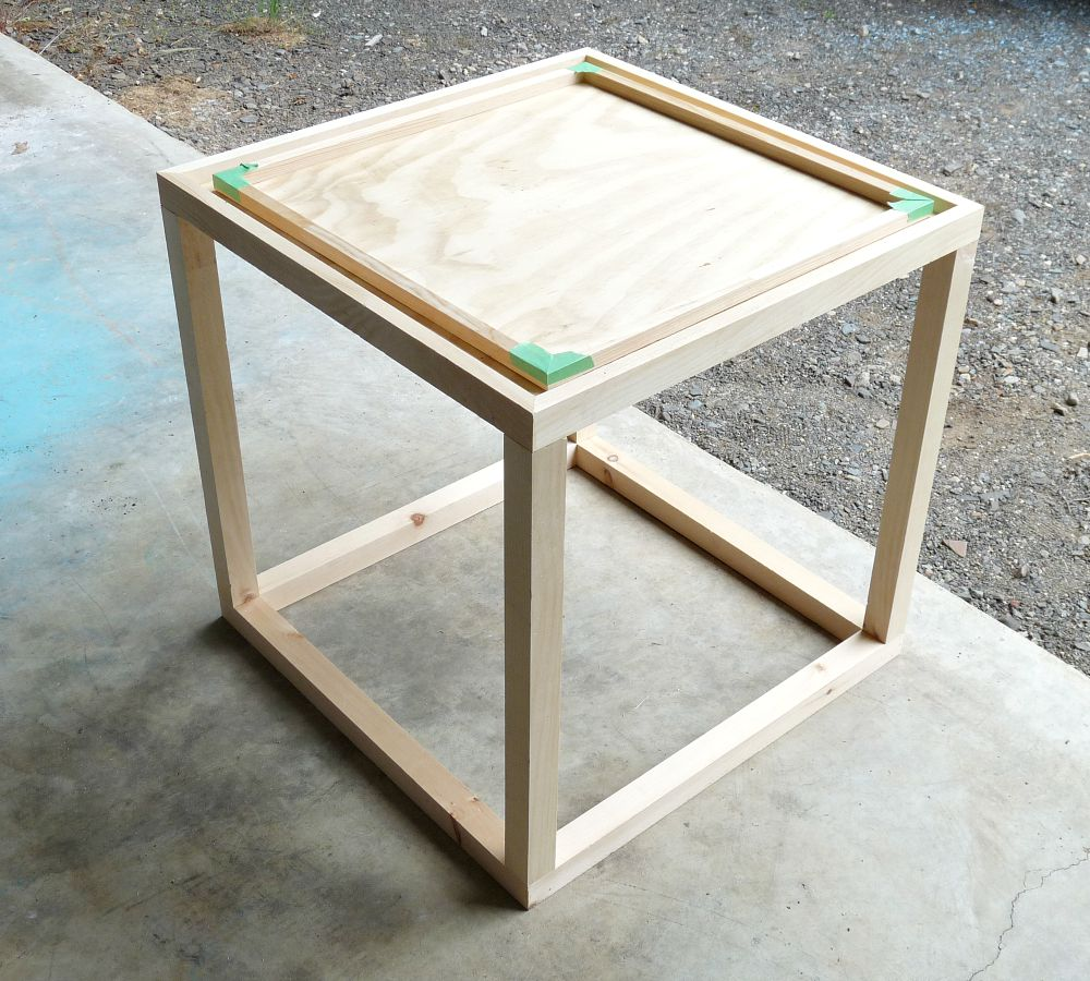 diy nautical accent table dans lakehouse before stain build this cute cube black cherry end top clear perspex barnwood dining light fixtures low outdoor coffee dog bath tub round