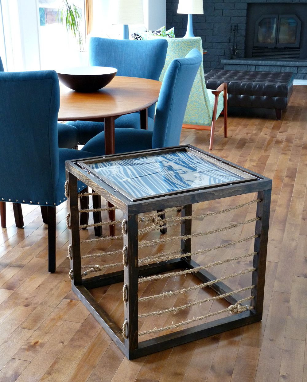 diy nautical accent table dans lakehouse rustoleum after loveyourwood contest runner rugs white round pedestal side glass drum smoked coffee low outdoor trestle kitchen dining