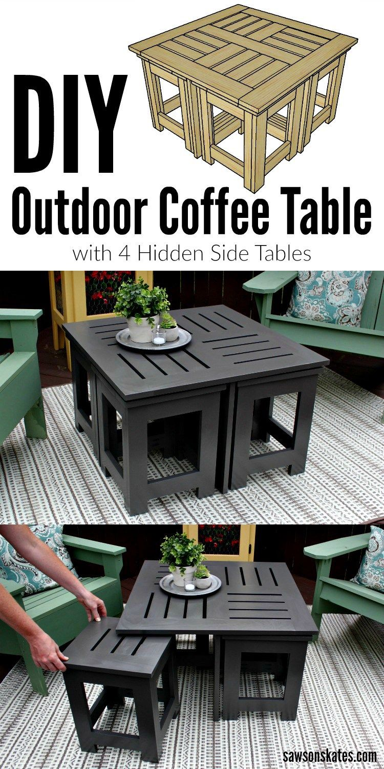 diy outdoor coffee table with hidden side tables for the home looking ideas easy this plans shows how make small perfect patio deck plus features wall wine holder accent dressers