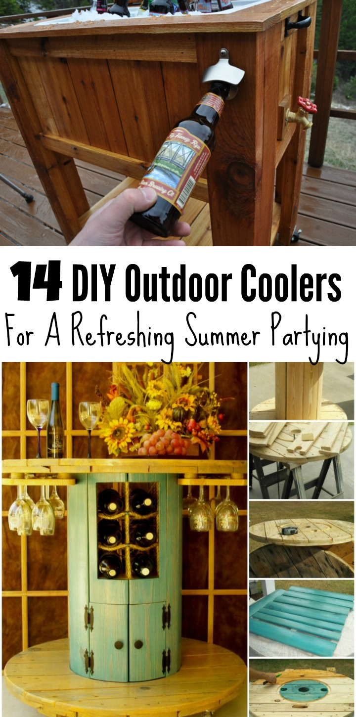 diy outdoor coolers for refreshing summer partying ritely side table beverage cooler lamps and shades hammered end console with cabinet doors small white round tablecloth long