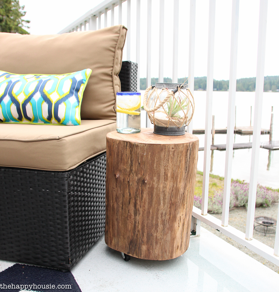 diy outdoor rolling stump side table the happy housie stool tutorial cover gray trestle dining round bedside ikea resin patio vintage contemporary furniture terence conran nesting