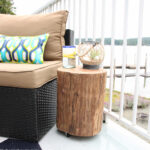 diy outdoor rolling stump side table the happy housie stool tutorial furniture yellow coffee bunnings patio chairs wood tables living room mosaic tile stylish lamps battery 150x150