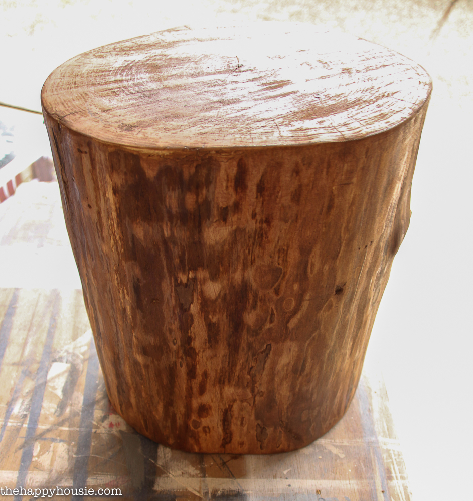 diy outdoor rolling stump side table the happy housie stool tutorial sofa height accent ideas small desks for spaces plant holder square farmhouse dining world market umbrella