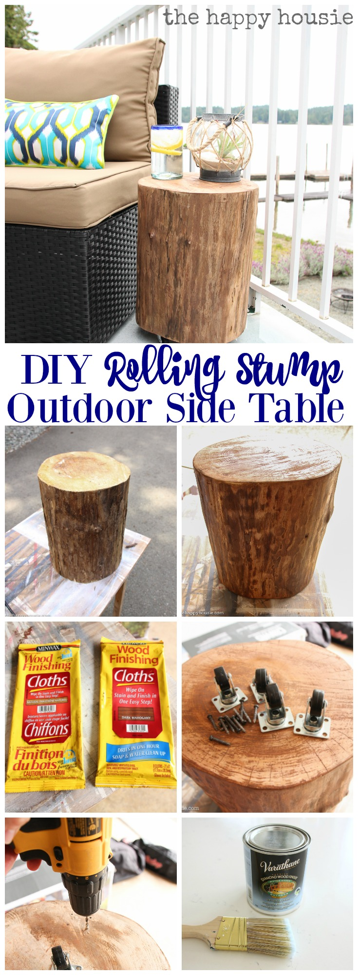diy outdoor rolling stump side table the happy housie super thrifty and easy project dining bench set coffee lamp tables accent ideas modern classic furniture antique pedestal end