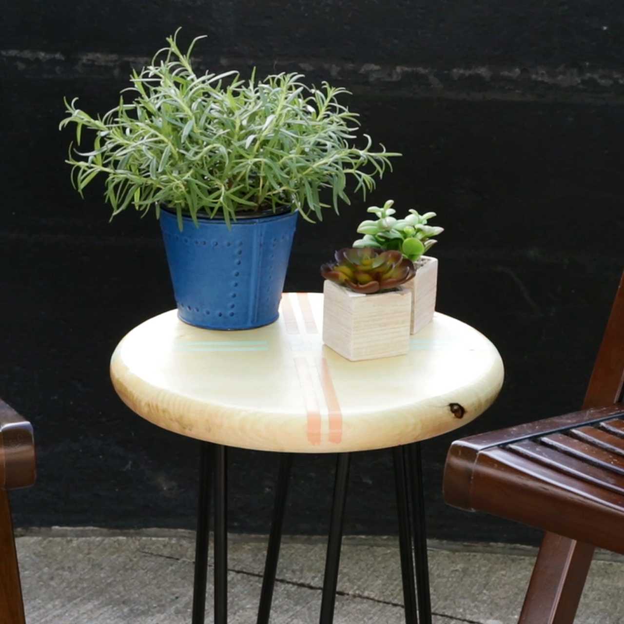 diy outdoor side table with hairpin legs better homes gardens leg accent green container plants blue white round end drawer wooden trestle modern nautical style tables pottery