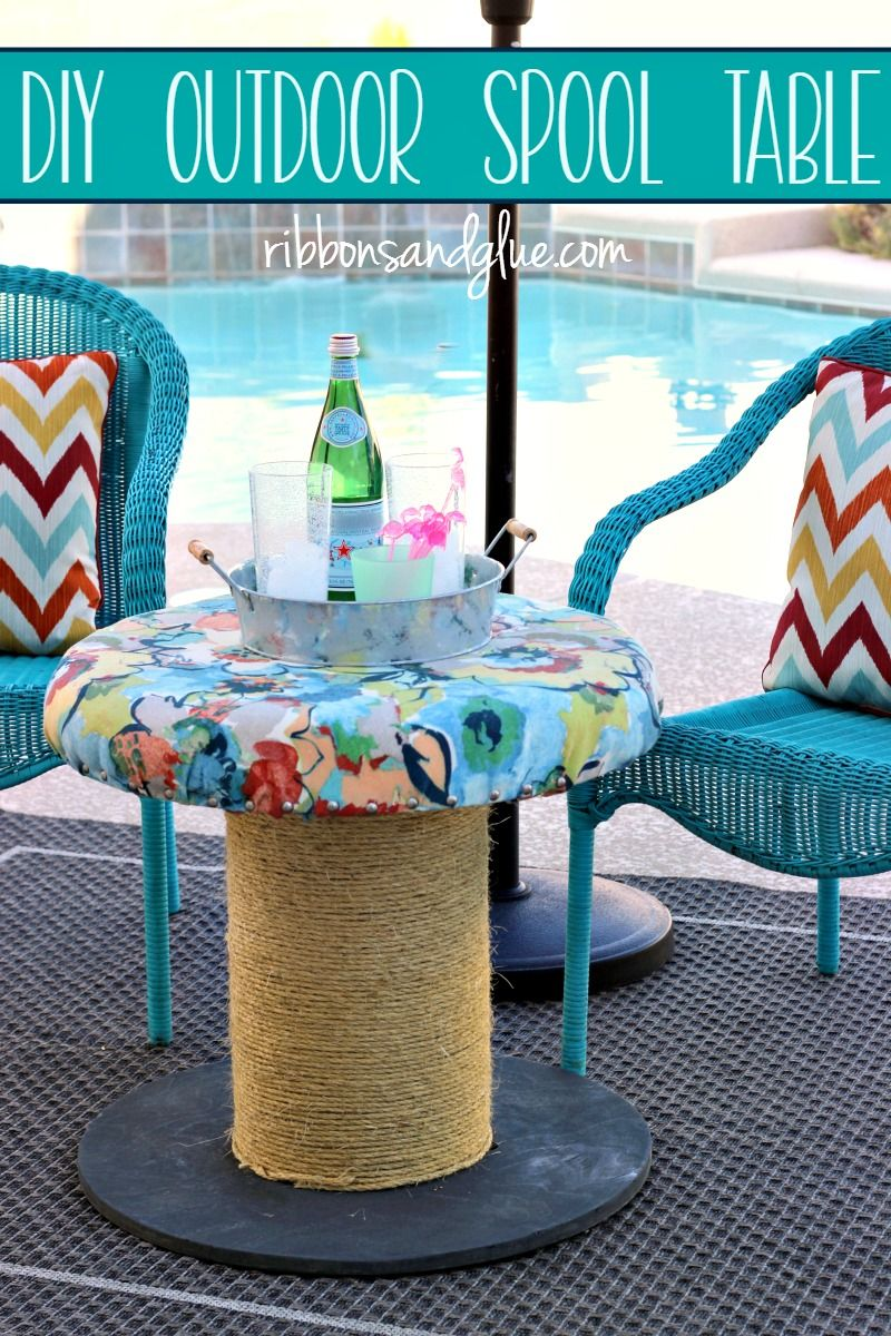 diy outdoor spool table ribbons glue blog tables side turn wooden seat made with fabric and rope forwhatmattersmost target plant holder marble chrome coffee small accent blue wood