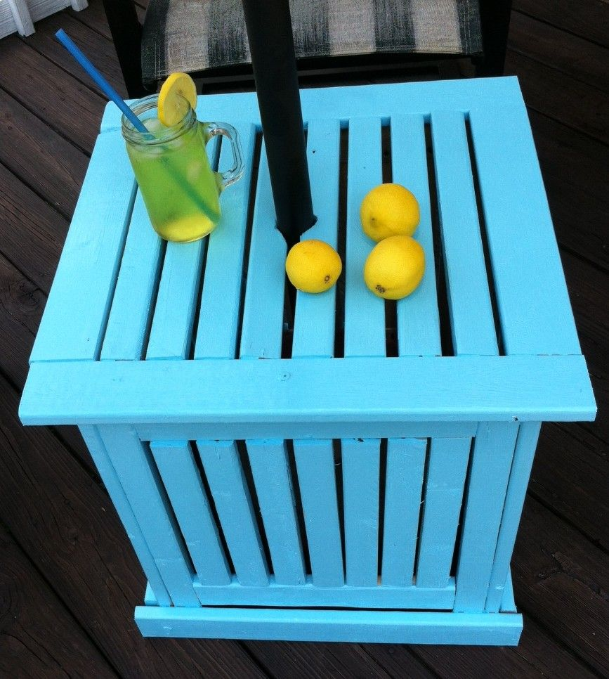 diy patio umbrella stand side table decor outdoor you don want spend lot money make your own reclaimed trestle dining jcpenney furniture tall with stools height accent pieces inch