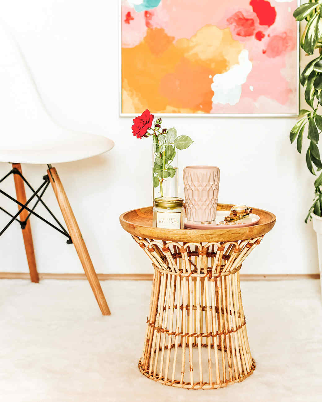 diy rattan side table martha stewart vert outdoor accent completed white chair amish oak end tables small round antique dining extension pottery barn decor nautical style modern