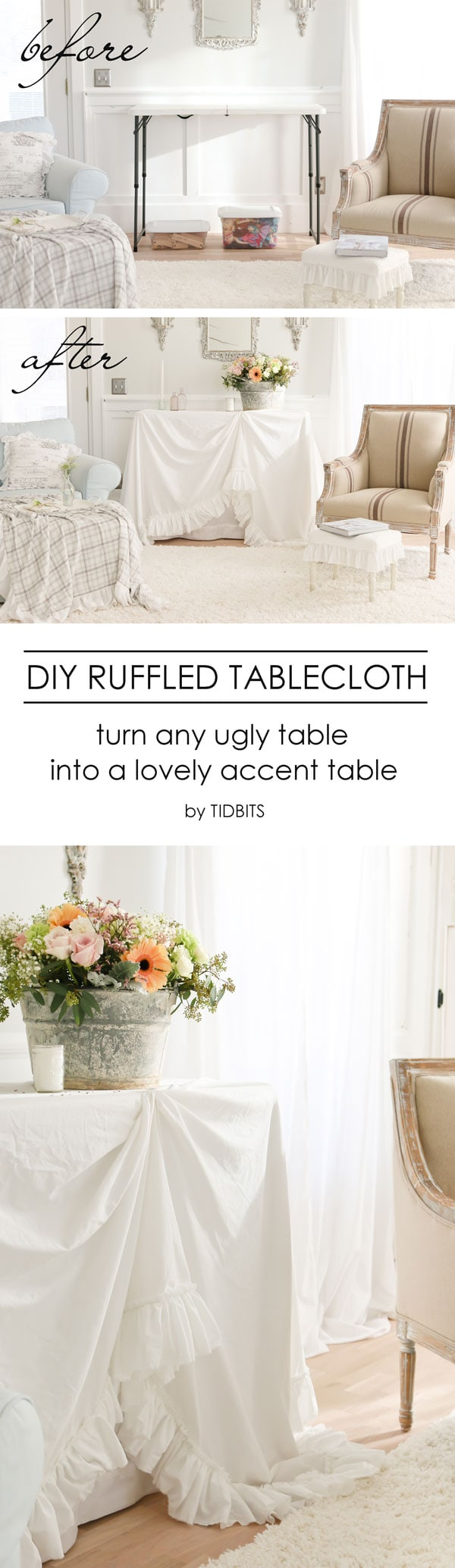 diy ruffled tablecloth french vintage style tidbits accent table cloth ruffle from cotton sheets turn your inexpensive fold tables into lovely outdoor egg chair yellow and grey