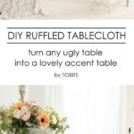 diy ruffled tablecloth french vintage style tidbits accent table ruffle from cotton sheets turn your inexpensive fold tables into lovely retro dining and chairs coffee freya round 150x150