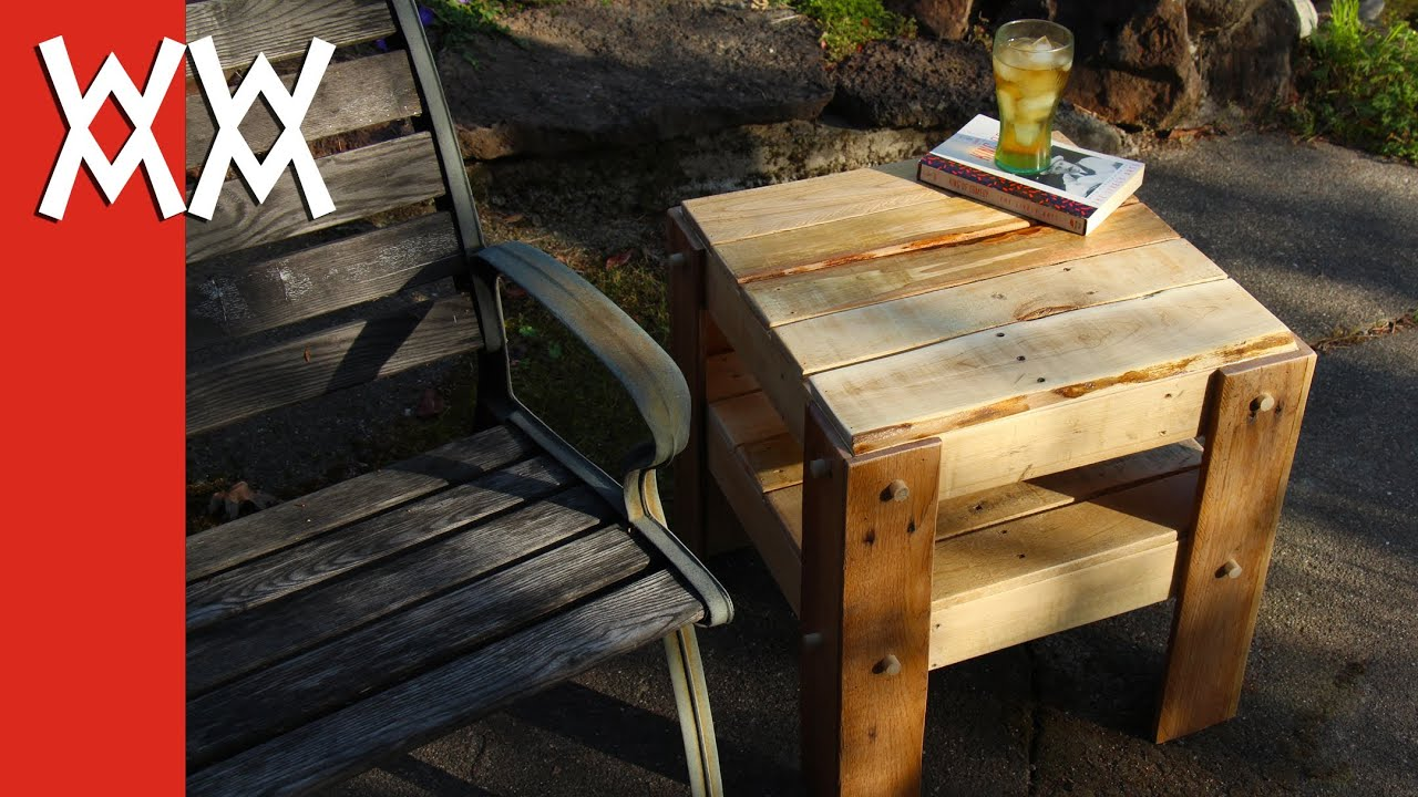 diy rustic side table made from free pallets tall outdoor accent cherry living room tables antique wooden ladder inch tablecloth glass with drawers yellow furniture dining