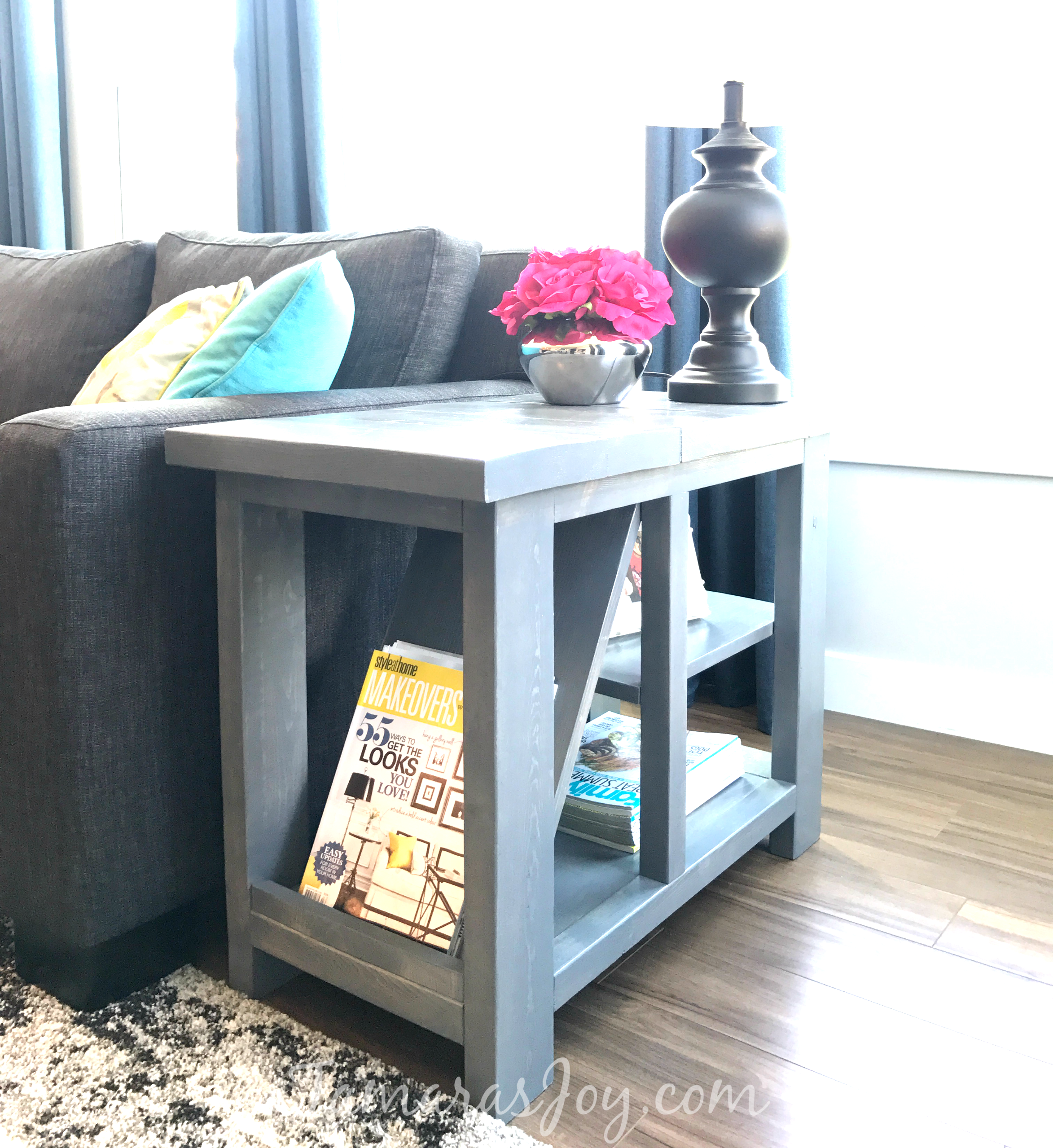 diy rustic side table with free plans tamara joy magazine rack end this designed deep and narrow perfect fit for beside sectional sofa also has plenty storage gold accent coffee