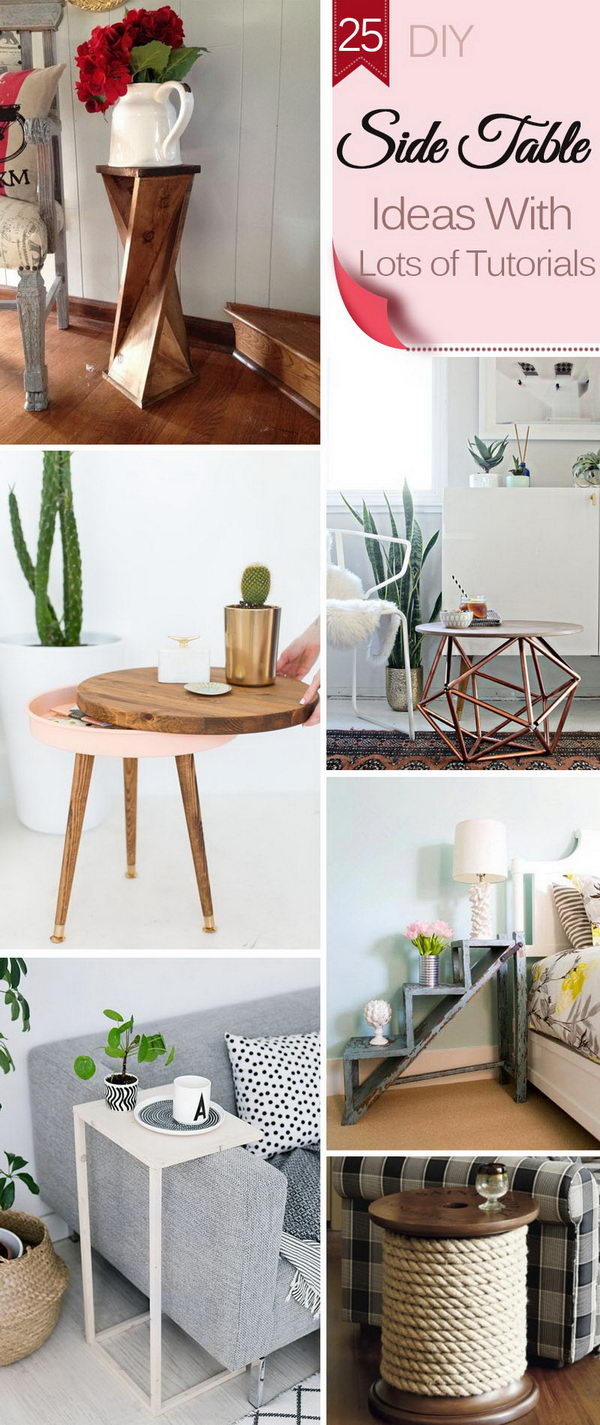 diy side table ideas with lots tutorials accent plans front entrance decor silver grey tablecloth dale tiffany dragonfly lamp butler round wood west elm marble sofa for small
