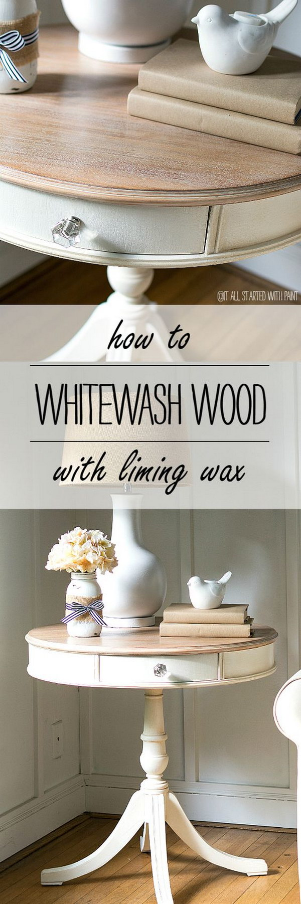 diy side table ideas with lots tutorials gold accent decor drum makeover using chalkpaint and whitewashed wood technique patio umbrella lights black end pottery barn dining