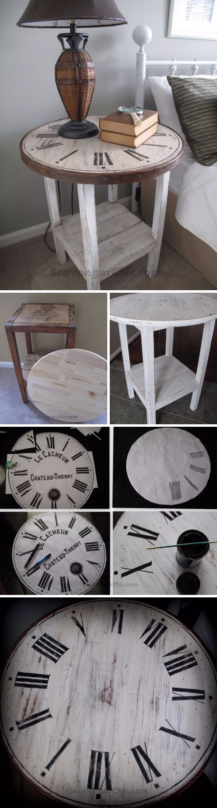 diy side table ideas with lots tutorials gold accent vintage clock entryway chest drawers mirrored tray for coffee decorative chairs pretty beds nightstand most comfortable drum