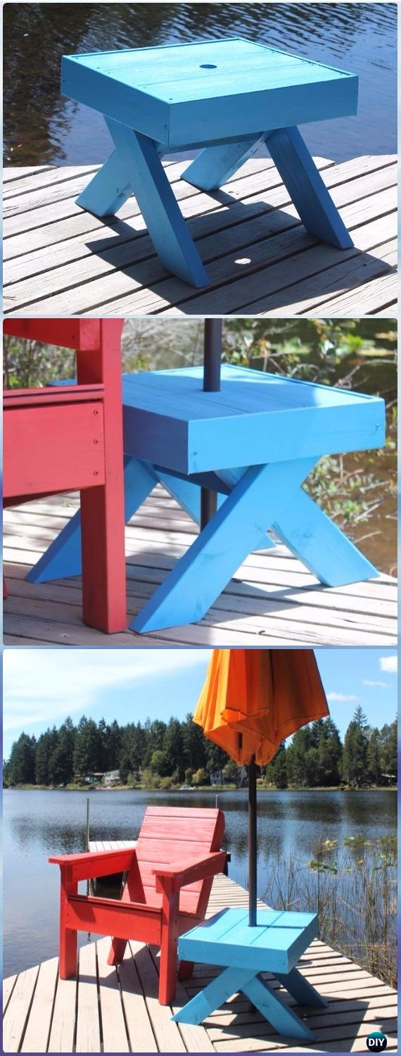 diy side table umbrella stand instructions outdoor ideas diyhowto projects free plans accent pieces for family room adjustable furniture legs drawer cabinet jcpenney patio kitchen