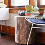 diy tree stump side table trunk accent reclaimed trestle stone coffee white wicker chair portable shade umbrella ikea storage solutions kitchen and chairs vintage bedroom small 150x150