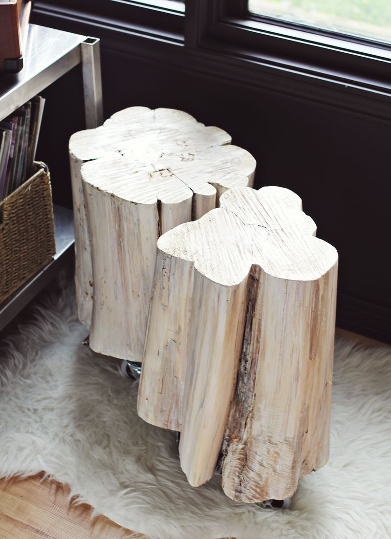 diy tree stump side tables beautiful mess trunk accent table furniture hammered metal top coffee portable shade umbrella blue lacquer nautical nursery lamp outdoor swing chair