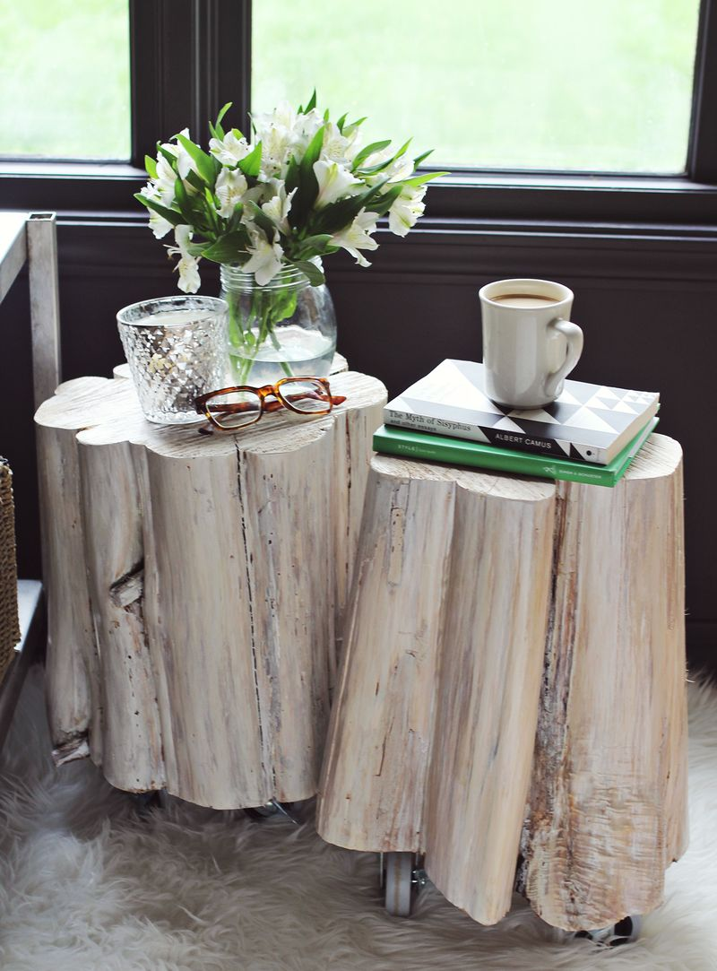 diy tree stump side tables beautiful mess trunk accent table tennis paddles blue lacquer tall mirrored outdoor chair covers stone coffee bedroom chairs condo furniture toronto