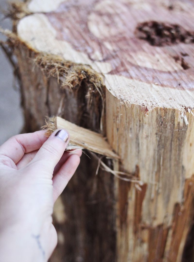 diy tree stump side tables beautiful mess wood accent table how get bark off metal small fire pit target high top pier lamps battery operated touch lucite coffee threshold windham