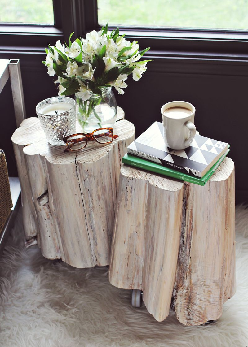 diy tree stump side tables beautiful mess wood accent table how make white crystal lamp shade silver grey lamps metal small pier cherry nightstand ese style clear winsome modern