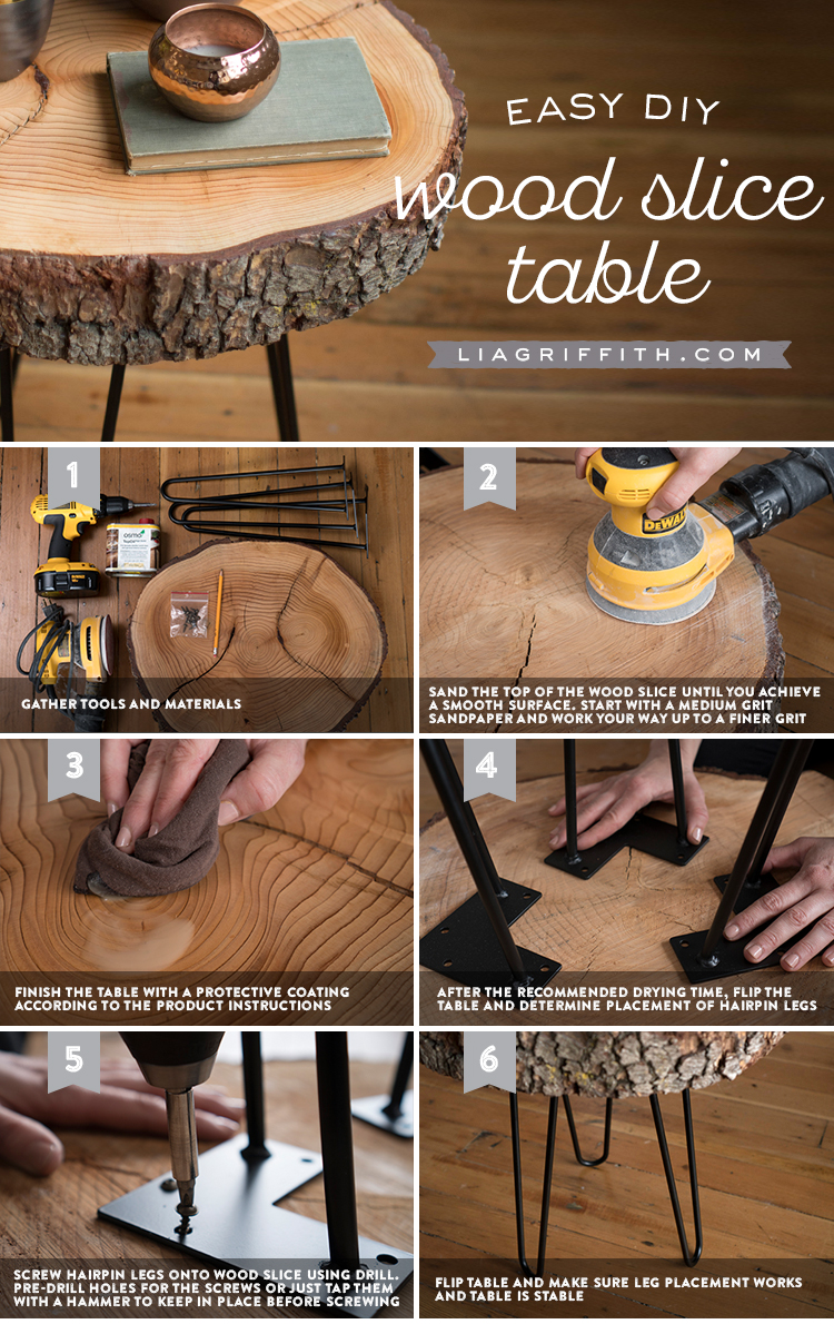 diy wood slice table tutorial accent oil finish hairpin legs save instructions person bar mid century entry better homes and gardens end modern glass cocktail extendable bbq prep