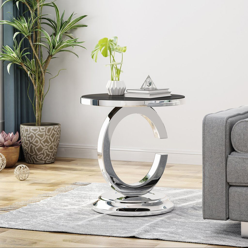 dock contemporary stainless steel accent table with tempered glass tables top gdf studio pendant light fixtures pub furniture percussion stool blue nest long console behind couch