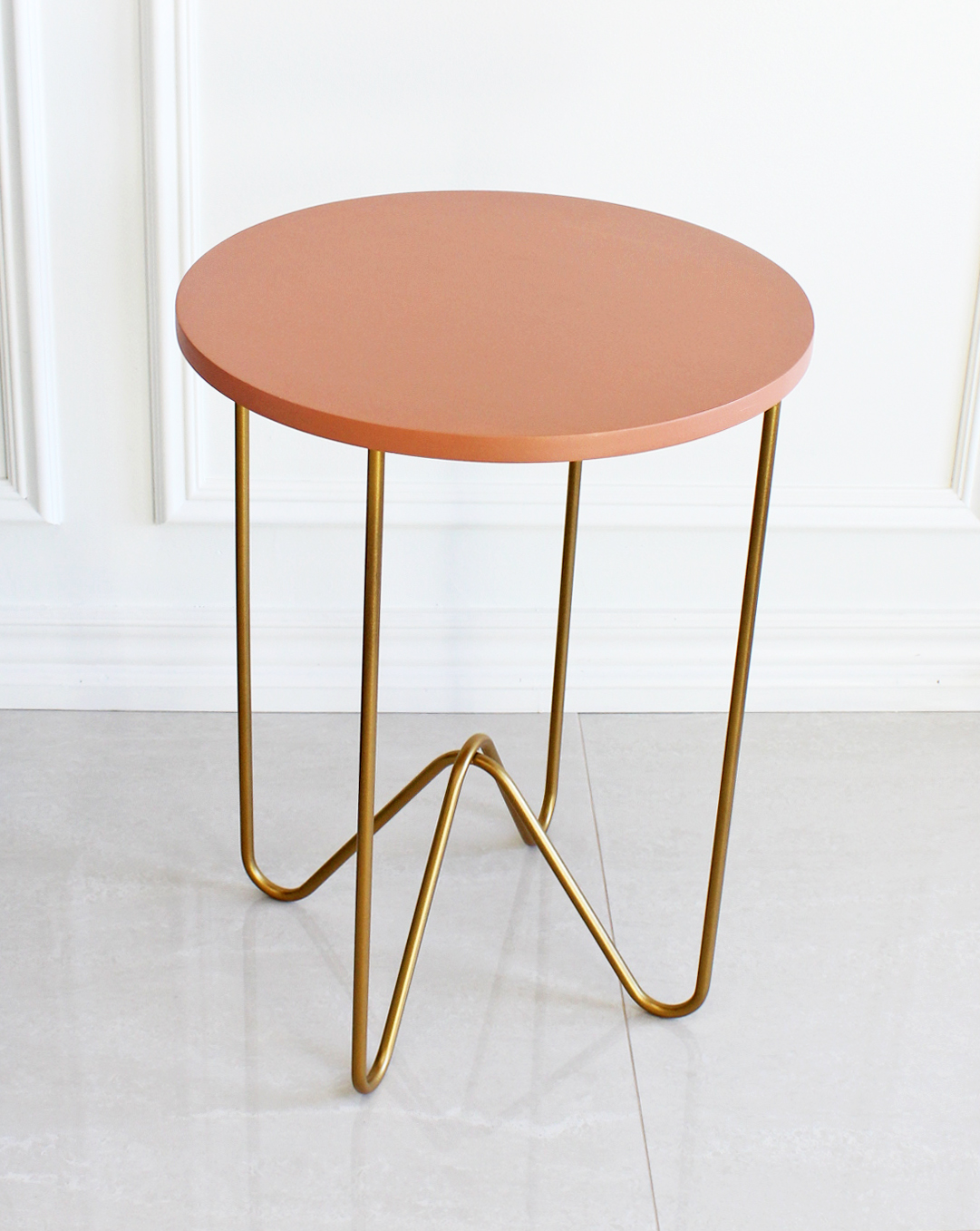 dolce vita style marble tulip side table nate berkus target round gold peach cast metal accent and this from the spring collection having second thoughts about colored tabletop