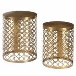 doleman round perforated metal piece nesting table boutique manila cylinder drum accent brass set two slide under sofa ikea bella green mosaic outdoor what sheesham wood patio 150x150