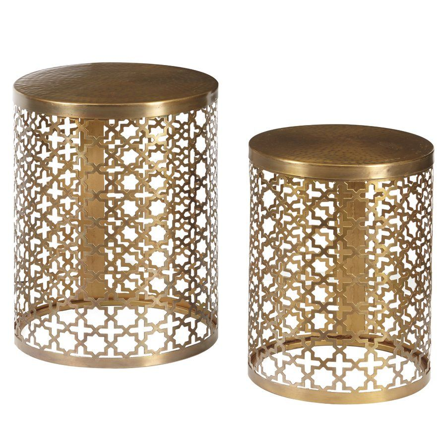 doleman round perforated metal piece nesting table boutique manila cylinder drum accent brass set two slide under sofa ikea bella green mosaic outdoor what sheesham wood patio